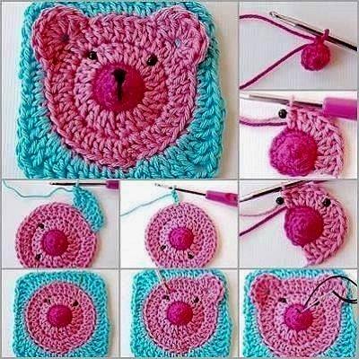couverture granny ours au crochet crochet et plus crochet et plus. Black Bedroom Furniture Sets. Home Design Ideas