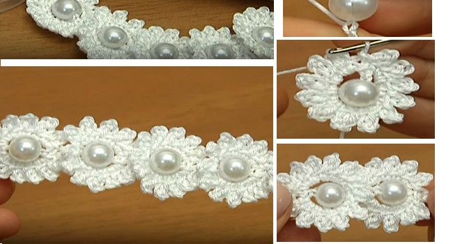 crochet flowers pearl