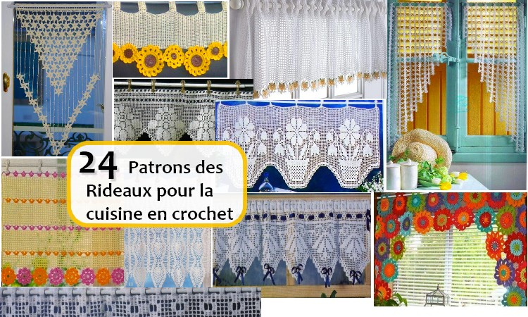 24 patrons des rideaux pour la cuisine en crochet. Black Bedroom Furniture Sets. Home Design Ideas