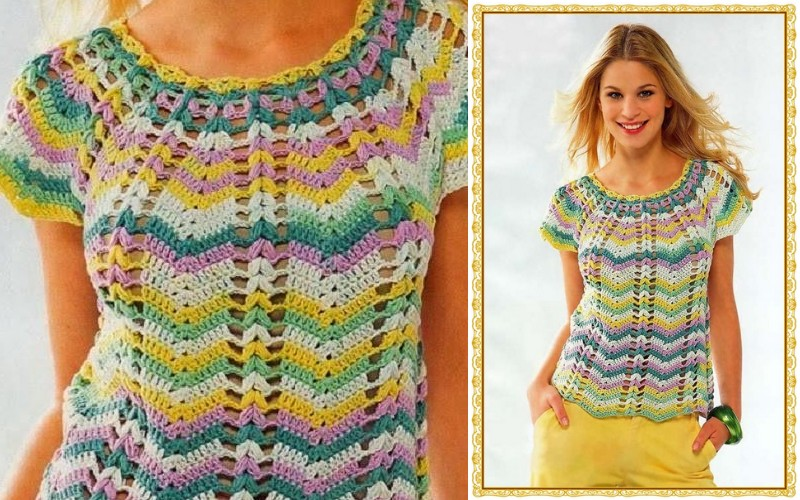 blusa croche colore
